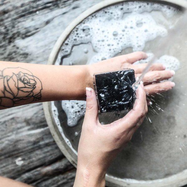 woo charcoal soap hands washing